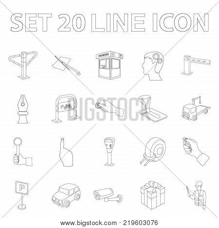 Parking for cars outline icons in set collection for design. Equipment and service vector symbol stock  illustration.