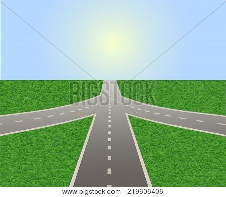 Illustration of empty highway with road junction. Road leading to horizon and sunlit sky. Vector is perfect to illustrate the travels, adventures, logistics, navigation, the choice places in life.