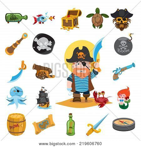 Pirate icons, pirate captain. Set of vector illustrations isolated on white background.