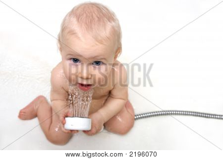 Cute Baby With The Shower