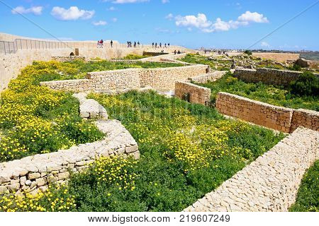 VICTORIA, GOZO, MALTA - APRIL 3, 2017 - View of the building ruins and surrounding wall within the citadel Victoria (Rabat) Gozo Malta Europe, April 3, 2017.