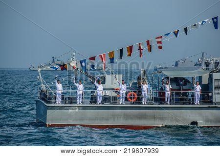Pattaya Thailand - November 18 2017 Navals in activity of fleet review on warship parking on sea on the 50th anniversary ASEAN international fleet review 2017 drill in Pattaya Thailand