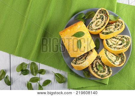Egg And Cheese Roulade With Spinach And Feta