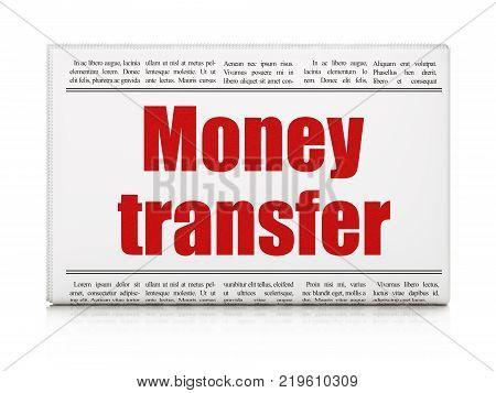 Money concept: newspaper headline Money Transfer on White background, 3D rendering