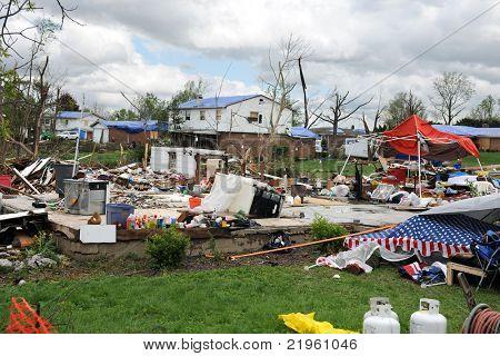 SAINT LOUIS, MO - APRIL 22:Destruction left behind by tornadoes that ravaged the area. April 22, 2011 in Saint Louis, Missouri