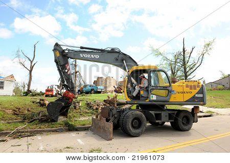 SAINT LOUIS, MO - APRIL 22: Clean up after the destruction left behind by tornadoes that ravaged the area. April 22, 2011 in Saint Louis, Missouri