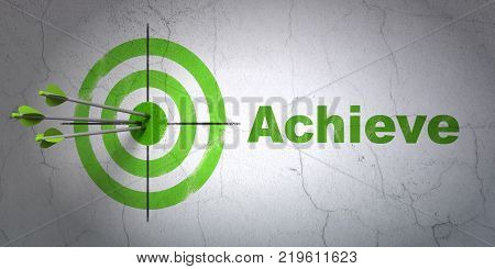Success business concept: arrows hitting the center of target, Green Achieve on wall background, 3D rendering