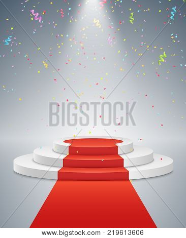White podium and red road. The winner is in first place. Bright light from a spotlight. Multicolored flying confetti. White pedestal. Festive event. Vector illustration.