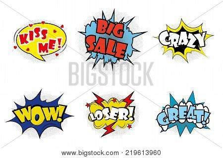 Comic pop art speech bubbles and splashes set with different emotions and text Wow, Big Sale, Kiss me, Great, Crazy, Loser. Vector bright dynamic cartoon illustrations isolated on white background.