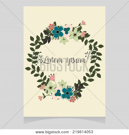 Pastel floral wrath vector illustration space for text