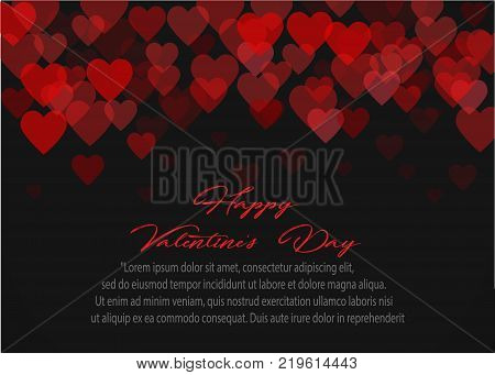Red pattern of random falling hearts confetti. element for festive banner, greeting card, postcard, wedding invitation, Valentines day and save the date card. Vector illustration.