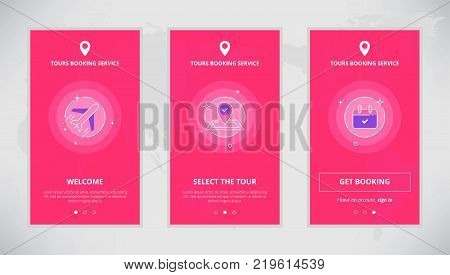 Modern vector flat line mobile app design set of tours booking services. Onboarding screens for online tours booking service