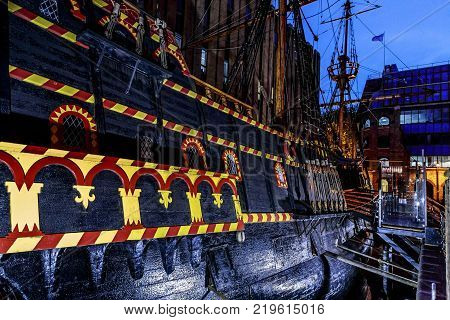 LONDON, GREAT BRITAIN - MAY 11, 2014: This is an exact copy of the Golden Hind galleon at night.