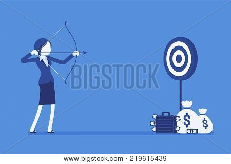 Businesswoman arching in profit target. Young woman with bow, arrow shoots to money aim, intended to achieve great result, financial benefit. Vector business concept illustration, faceless characters