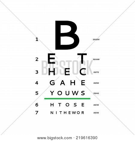 Eyes test chart tests the adult and children's options isolated on white background. Vision test board optometrist
