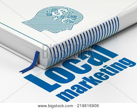 Advertising concept: closed book with Blue Head With Finance Symbol icon and text Local Marketing on floor, white background, 3D rendering