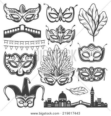 Vintage Venice carnival elements set with venetian cityscape bridge different masks feathers and garland isolated vector illustration