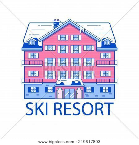 Abstract spa and ski resort emblem in line art design. Monoline winter mountain hotel linear vector illustration. Snowy holiday inn building isolated on white background.