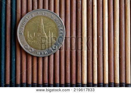 One Euro Coin Denomination Is 1 Euro Lie On Isolated White Background