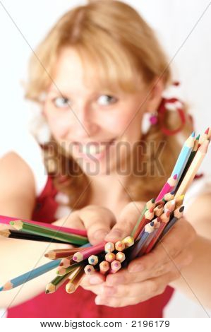 The Girl And Pencils