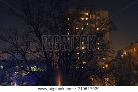 Scene from one small Balkan town by night during early winter season.