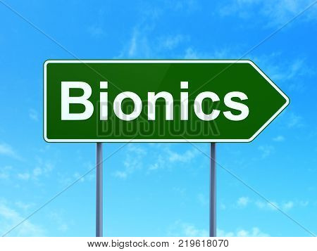 Science concept: Bionics on green road highway sign, clear blue sky background, 3D rendering