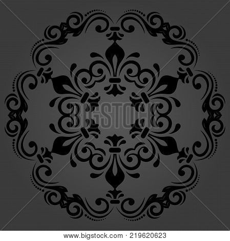 Oriental vector round dark pattern with arabesques and floral elements. Traditional classic ornament. Vintage pattern with arabesques