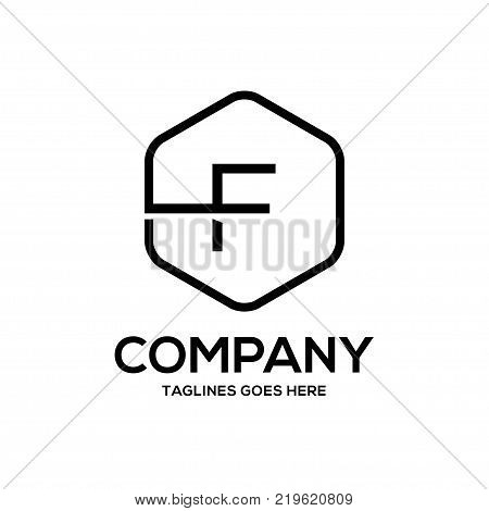 Clean luxury Letter F logo hexagon linear sign vintage design. letter F outlines with modern hexagon logo concept
