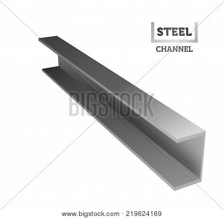 Steel I-beam. Logo of the channel. Realistic vector illustration.