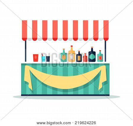 Colorful beverage booth icon isolated on white background. Vector illustration with bar counter and big amount of bottles and drinks with paper labels