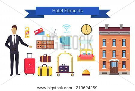 Hotel elements written on ribbon, image representing administrator and icons of clock and keys, bed and bath, food and towel vector illustration