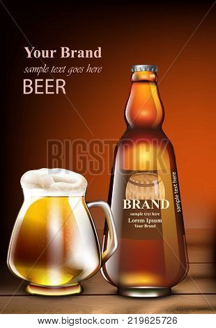 Beer Vector realistic mock up. Product packaging mock up. Glass bottle and mug. template design