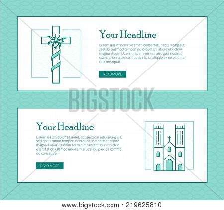 Religion vector thin line banner template for modern church promo materials. Monochrome thin line illustrations of cross and church