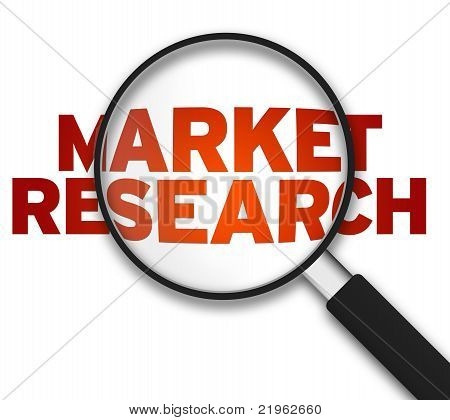 Magnifying Glass with the word Market Research on white background. poster
