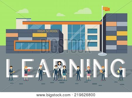 Learning in upper school concept. Modern school building with happy pupils and teacher on school yard flat vector. Children s education. Learning favorite school subjects. For private school web page