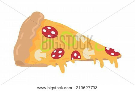 Pizza slice isolated on white. Italian snack with cheese and tomatoes. Mushrooms, salami, onion. Junk food. Consumption of high calories nourishment fast food. For restaurant menu. Vector in flat