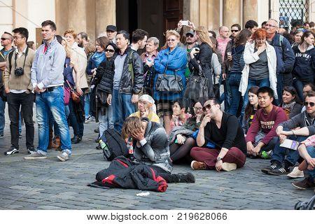 Prague, Czech Republic - April 19, 2014:  Open Air Concert on Oldtown Square, during traditional Prague Easter market.