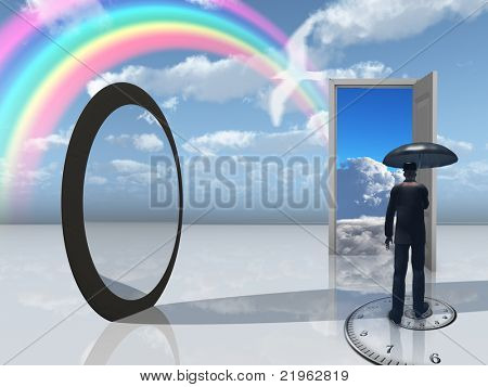 man with umbrella and mirror opening