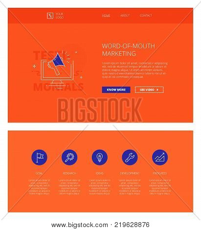 Minimal design web template with header and five icons for business landing pages, sites and apps. White outline minimal illustrations of word-of-mouth marketing