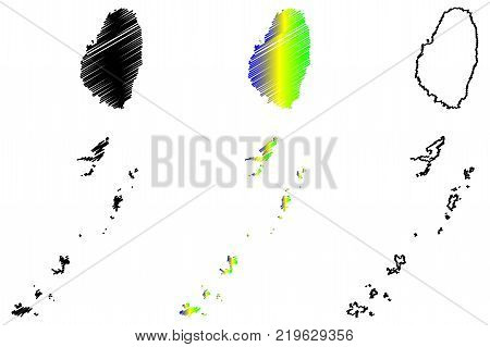 Saint Vincent and the Grenadines map vector illustration , scribble sketch Saint Vincent and the Grenadines Islands