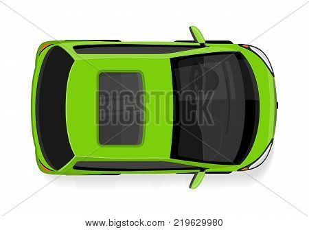 Passenger car top view icon. Green mini car flat style vector illustration isolated on white background. Personal automobile. For city transport concepts, car shop, auto salon logo, app design