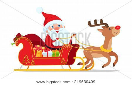Santa riding in sleigh with reindeer animal vector isolated on white. Christmas greeting postcard with deer driving cartoon sledge full of presents