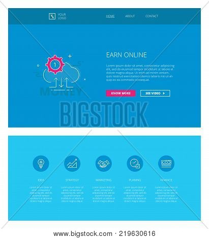 Minimal design web template with header and five icons for financial earning online landing pages, sites and apps. White outline minimal illustrations of earning online