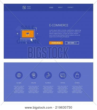 Minimal design web template with header and five icons for electronic commerce landing pages, sites and apps. White outline minimal illustrations of e-commerce