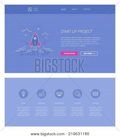 Minimal design web template with header and five icons for start ups and business landing pages, sites and apps. White outline minimal illustrations of start up