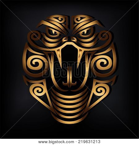 Golden Snake head isolated on black background. Stylized Maori face tattoo. Golden Cobra mask. Symbol of Chinese Horoscope by years. Vector illustration.