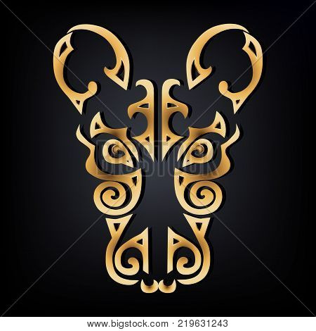 Golden Rat head logo isolated on black background. Stylized Maori face tattoo. Golden Rat mask. Symbol of Chinese Horoscope by years. Vector illustration.