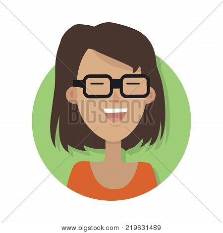 Woman face emotive icon. Smiling cute brown-haired female character flat vector illustration isolated on white. Happy human psychological portrait. Positive emotions user avatar. For app, web design