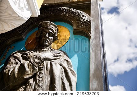 Part of the sculpture of Princess Olga at the door of the Cathedral of Vladimir. Princess Olga - first known female ruler of country. Easter.