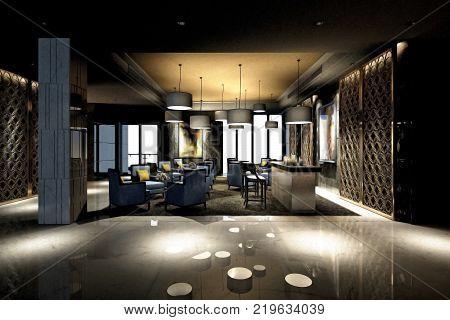 3d render of modern luxury hotel lobby